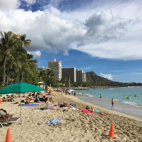 ハワイの風景01 ワイキキビーチ